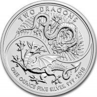 Srebrna moneta Two Dragons   1 oz   2018