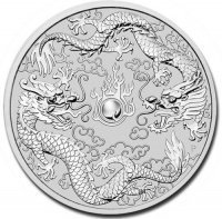 .       Srebrna moneta Dwa Smoki / Double Dragon  1 oz   2019 (Australia)