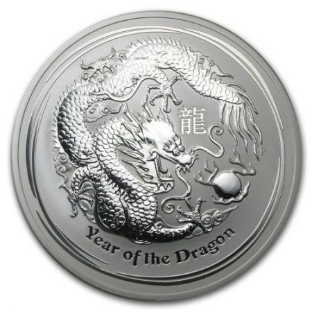 Srebrna moneta Rok Smoka  / Lunar Dragon   5 Oz  2012